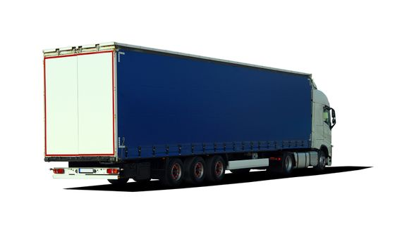 Large truck with semi-trailer, rear view