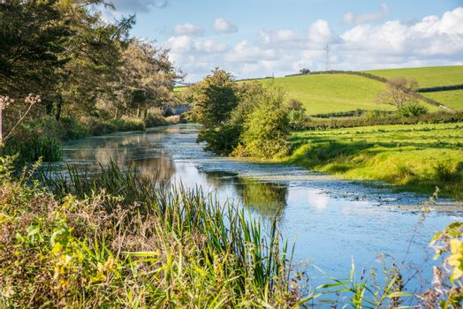 English rural countryside scenery on British waterway canal