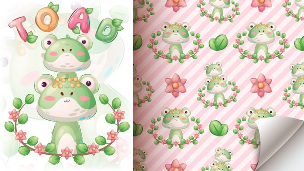Toad in leaf - seamless pattern