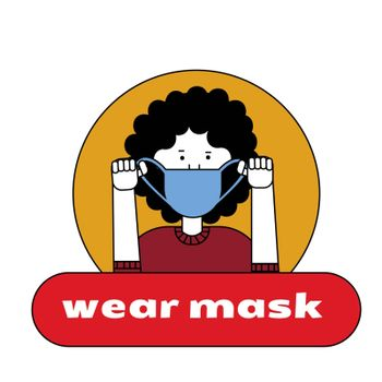The girl puts on a mask on her face. Sticker, poster, sign in front of the entrance with the words put on a medical mask .
