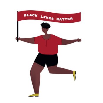 African American man with flag Black Lives Matter.Protest action guy.Cartoon character isolated on white background vector flat illustration