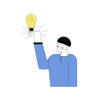 man stands and shows eureka gesture with a light bulb. The boy has an idea. Vector illustration in flat cartoon style