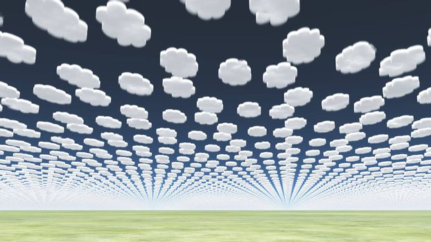 Surreal clouds over green field. 3D rendering