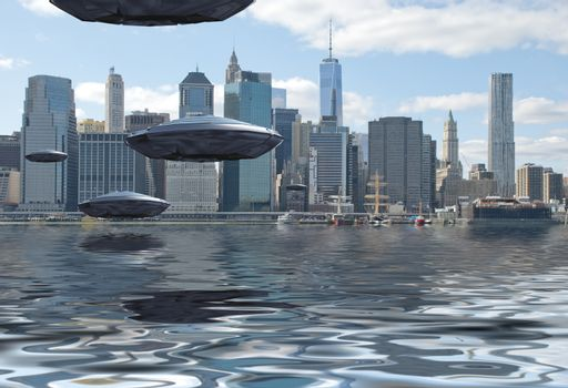 Visitors from Space. Flying saucers over New York harbour. 3D rendering