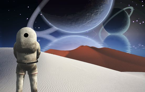 Astronaut stands in surreal white desert. Big planets rising over the ocean. 3D rendering
