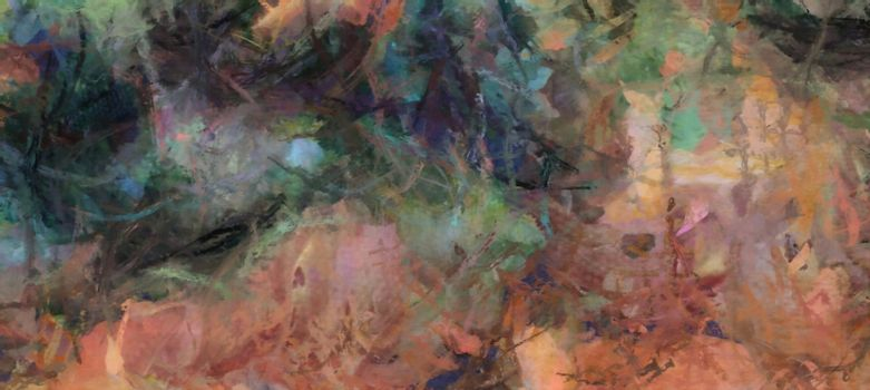 Muted Abstract Painting on Canvas. 3D rendering