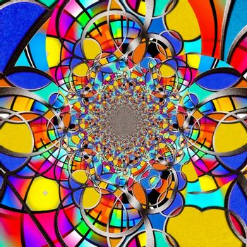 Colorful fractal. Abstract painting. 3D rendering