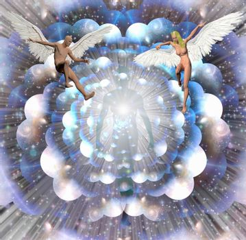 Figures of man and woman with angel wings. Human soul in the center. Multilayered space represents endless of dimentions. 3D rendering