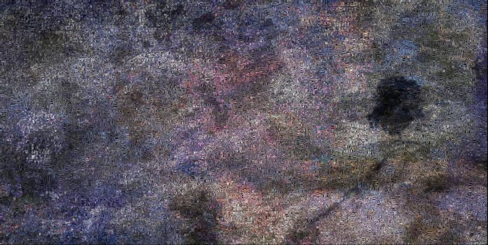 Abstraction. Purple colors, Image composed entirely of words. 3D rendering
