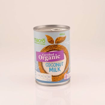 Mackay, Queensland, Australia - February 2020: A tin of organic coconut milk isolated on a white background, product photography