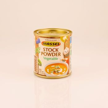 Mackay, Queensland, Australia - February 2020: A tin of stock powder isolated on a white background, product photography