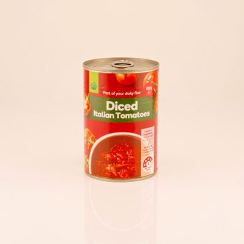Mackay, Queensland, Australia - February 2020: A can of Italian diced tomatoes isolated on a white background, product photography
