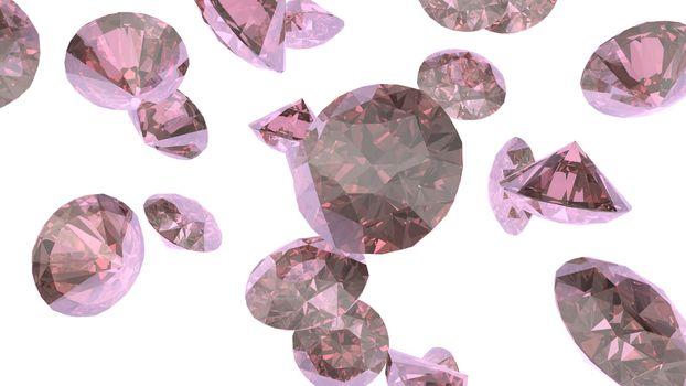 Shiny gemstone diamond crystal on pinkish background