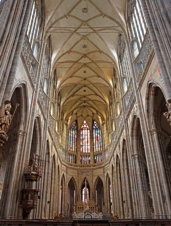 The grand interior of St. Vitus cathedral in Czech Republic