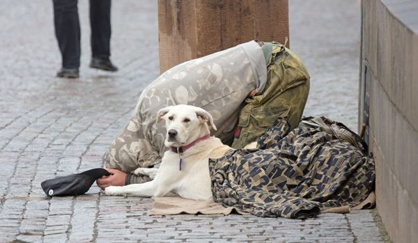 Beggar with dog begging for alms on the street in Prague