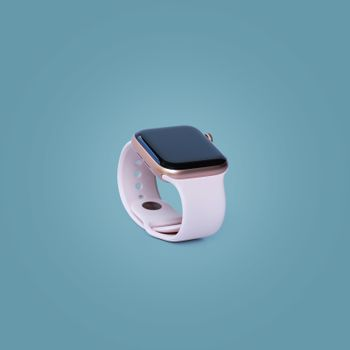 Beautiful design modern smart watch isolated on pastel color background, with clipping path.
