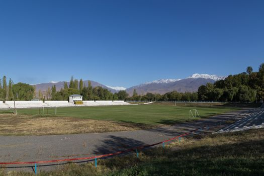 Soccer pitch and mountains in Kyrgyzstan