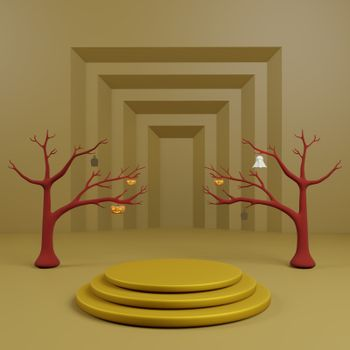 Golden podium or stage background have dead tree halloween scene