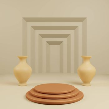 Podium for show product with vase and step yellow background