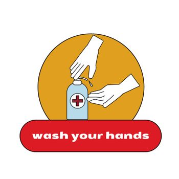WASH YOUR HANDS in bathroom vector illustration template Washing hands rubbing with soap for coronavirus prevention to stop spreading diseases. Hygiene is important