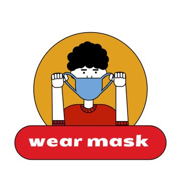The man puts on a mask on her face. Sticker, poster, sign in front of the entrance with the words put on a medical mask