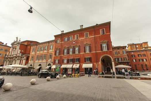 MODENA, ITALY 1 OCTOBER 2020: Piazza Roma in Modena, Italy. In english Roma square in the historical center of Modena
