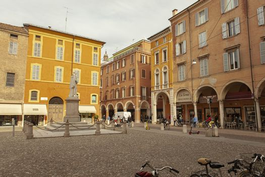 MODENA, ITALY 1 OCTOBER 2020: Piazza torre in Modena, in english Tower square in Modena