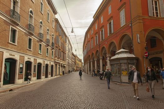 MODENA, ITALY 1 OCTOBER 2020: View of Emilia Centro alley in Modena in Italy