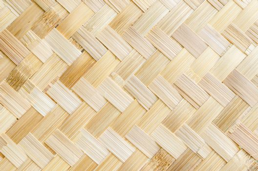 yellow bamboo weave pattern as background.