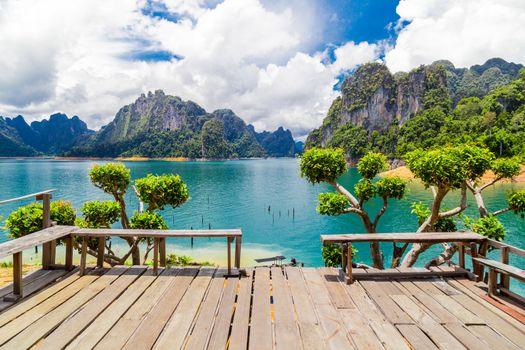 Beautiful lake with mountains at Ratchaprapha Dam or Khao Sok National Park, Surat Thani Province, Thailand