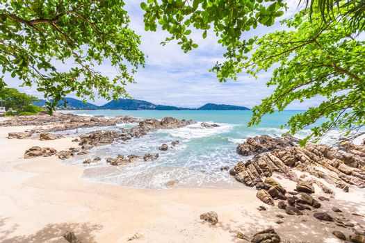 Summer holiday and vacation background concept of beautiful leaves frame trees on tropical beach in summer season