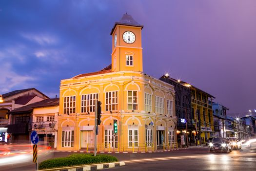 Old town with public clock tower is landmark of Phuket, Thailand.