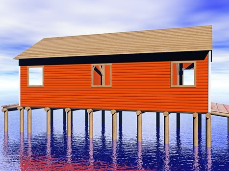 wooden boathouse by the water
