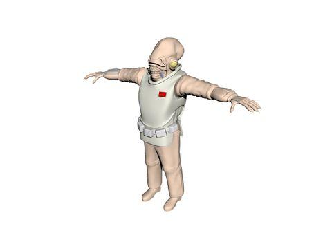 Alien humanoid in spacesuit