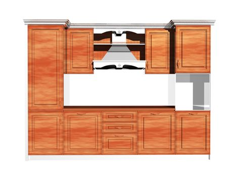wooden kitchenette with extractor hood