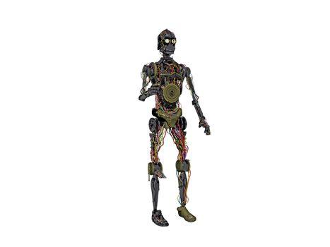 big heavy metallic humanoid robot