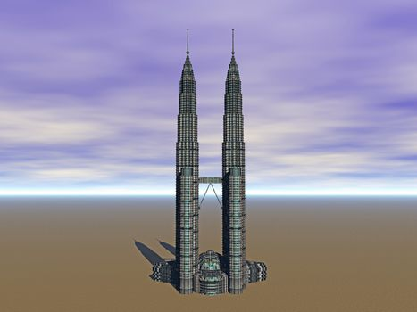 Needle-shaped interconnected towers of a skyscraper
