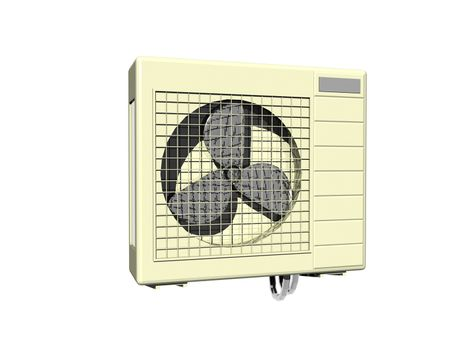Air conditioning with fan and protective grille