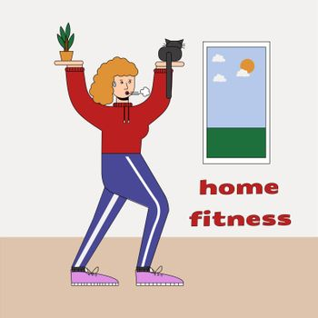 Woman with cats doing gymnastics at home, humorous fitness motivational cartoon, character doing exercises indoors. Cauchois sits on the palm instead of a kettlebell
