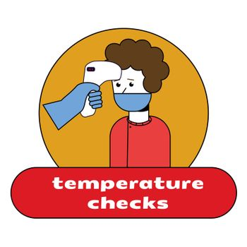 Check body temperature before entering public area to fight against coronavirus in flat style, COVID-19 strategy.