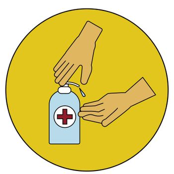 washing hand with Antibacterial hand sanitizer, disinfection gel symbol in cartoon flat illustration vector isolated in white background.