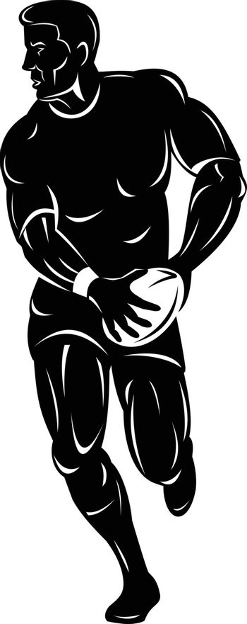 Retro woodcut style illustration of a rugby player running and passing the ball viewed from front on isolated background done in black and white.