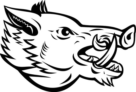 Mascot illustration of head of a wild boar, Sus scrofa, wild swine, common wild pig, a suid native to much of the Palearctic viewed from side on isolated background in retro black and white style.