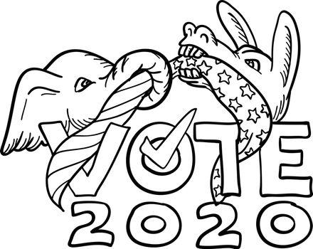 Republican Elephant and Democratic Donkey in Tug-O-War USA Flag Vote 2020 Cartoon Black and White