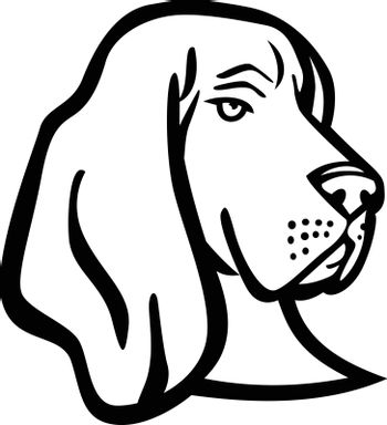 Head of a Basset Hound or Scent Hound Side View Mascot Retro Black and White