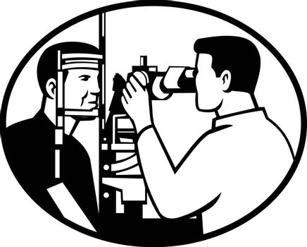 Patient and Optician or Optometrist with Eye Test Equipment Testing for Eye Exam Retro Black and White