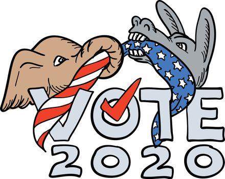 Republican Elephant and Democratic Donkey in Tug-O-War USA Flag Vote 2020 Cartoon