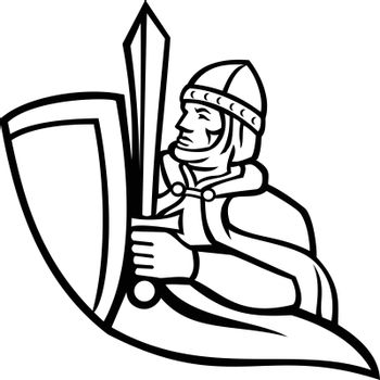 Bust of Medieval King Regnant Wielding a Sword and Shield Black and White Mascot