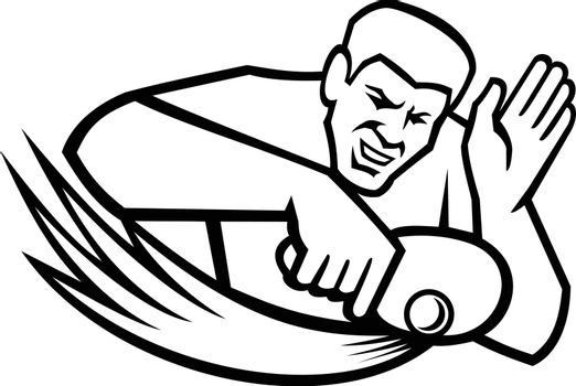Table Tennis Player Blocking Shot Mascot Retro Black and White