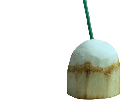 The fruit of the young coconut is peeled off with a ready-to-eat green straw on a white background.